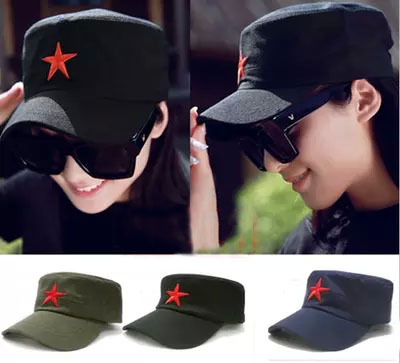 Free Shipping Summer Military Embroidery Red Star Snapback Caps Hat Fashion Adjustable Retro Star Baseball Hat Cap For Men Women(China (Mainland))