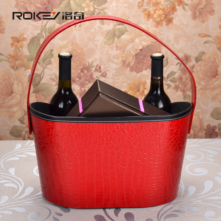 High-grade leather leather Christmas gift basket Storage basket portable basket Autumn New Year Hampers Gift Packaging(China (Mainland))