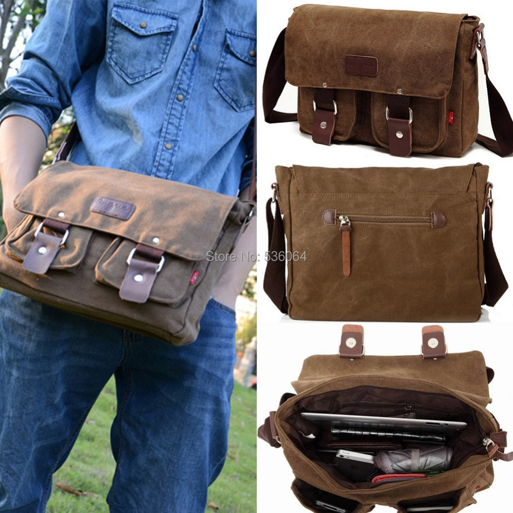 Brand New Convinent Fashion Men's Canvas Shoulder Messenger School Bag free shipping(China (Mainland))