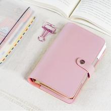 Macaroon Personal Organizer Leather Business Ring Office Binder Notebook Cute Kawaii Agenda Planner 2017 Travel Journal A5 A6 A7 - Lineboki's Dream store