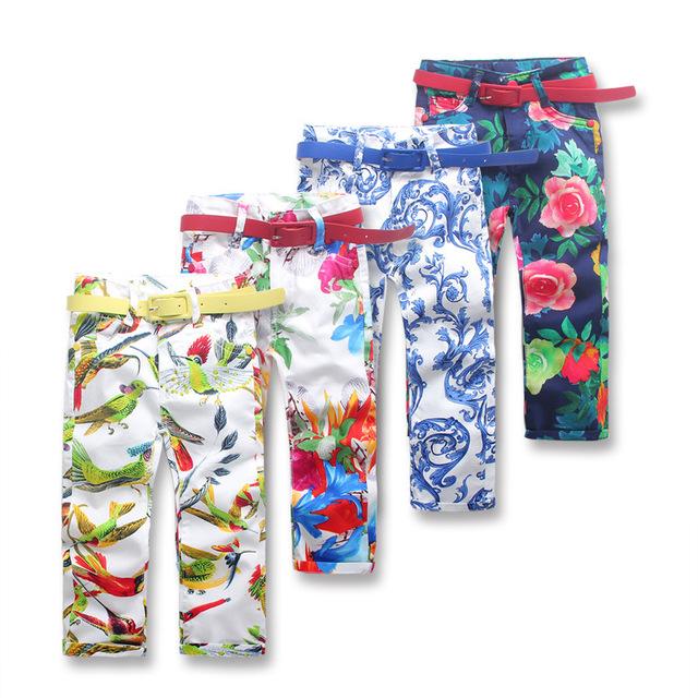 Девушки Леггинсы 2016 весна девушки одежда дети menina джинсы девочка брюки одежду для 3-8yrs случайные девушки капри