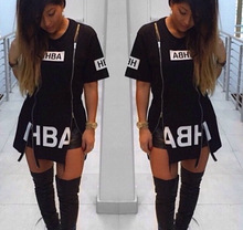 2015 New  T Shirt Dress Cotton Black Print  Sexy bodycon bandage Party Club  Dress Casual Outfit Plus Size(China (Mainland))