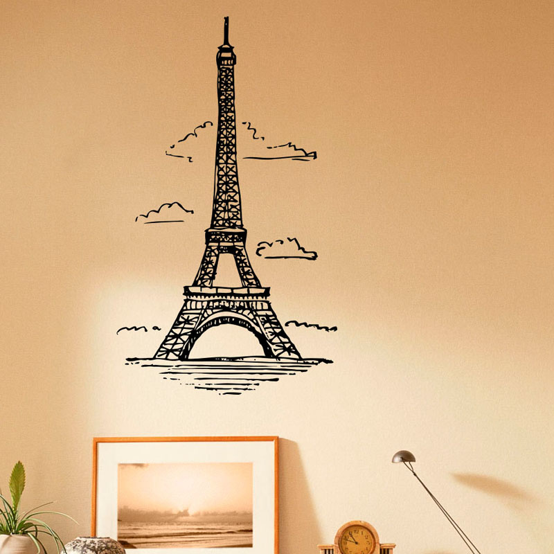 Clouds Eiffel Tower Vinyl Art Wall Stickers France Paris Living Room Wall Decals Decor(China (Mainland))