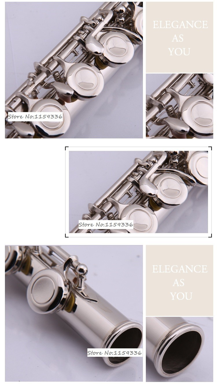 полноценное ebene spielen flöte, 16 Лох затвора e schlüssel vernickelt flöte, freies verschiffen c flöte