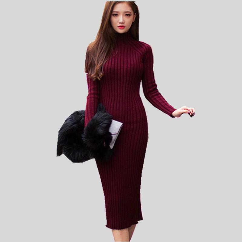 2016 Fashion Women Winter Dress Turtleneck Long Sleeve Knitted Sweater Dress Slim Sexy Long Dress Women Sweaters Pullovers AE447(China (Mainland))