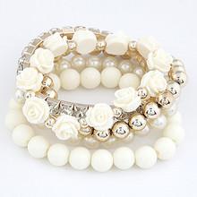 Bracelets for Women Charm Bracelets & Bangles Summer Jewelry Cute Beads Flower Bijoux Elastic Pulseira Feminina Pulseras Mujer(China (Mainland))