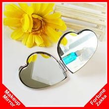 Wholesale Heart Shape Mirror Makeup Mirror Hand Vanity Table Compact Mirror Pocket Small Portable Makeup Cosmetic Mirrors(China (Mainland))