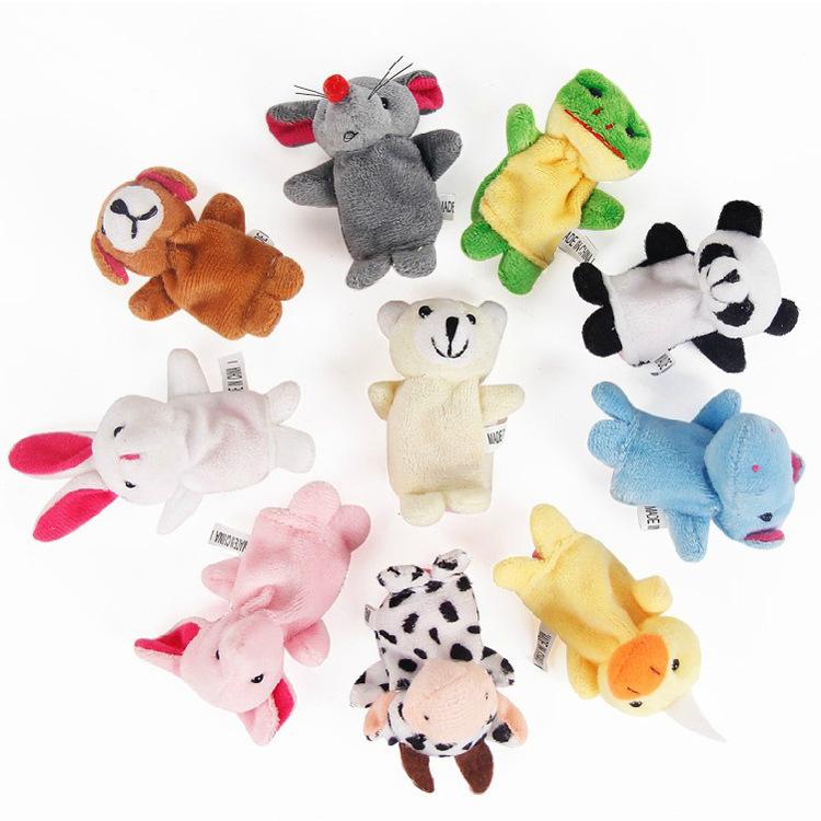Cute Cartoon Animal Finger Puppet 6-10 Pcs/lot Biological Animal Finger Puppet Plush Toys For Children's Best Christmas Gift(China (Mainland))