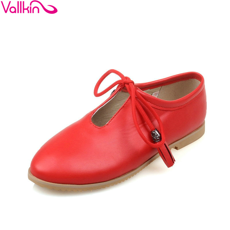 VALLKIN Round Toe Red Ladies Shoes Square Heel Woman Flat PU leather Lace Women Leisure Flats Size 34-42 - QUTAA Official Store store