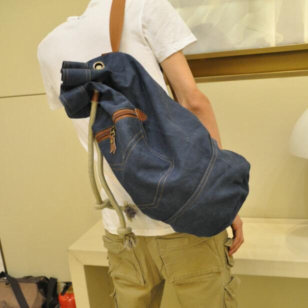 New 2016 men denim canvas bag large capacity bucket backpack men's travel bags backpacks shoulder bags free shipping(China (Mainland))
