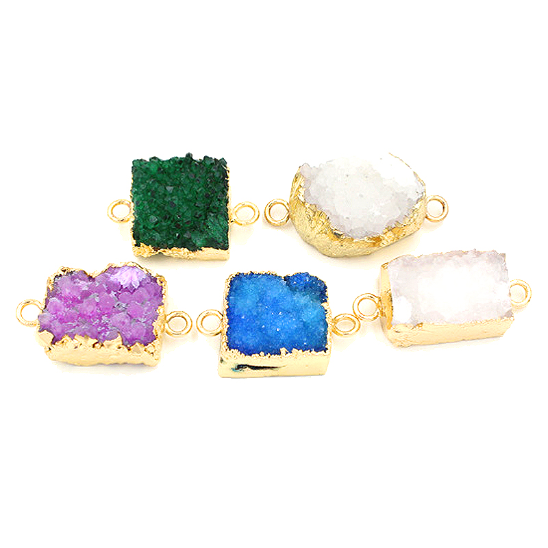 10pc natural druzy gemstone pendant Imitation gold Plated Drusy Crystal Stone Pendant Necklace crystal Fashion Jewelry for Women(China (Mainland))
