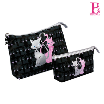 Free Shipping lovely cats Cartoon Printed Cosmetic case sweet girls make up beauty lady tote bag toiletry bag 2 piece a lot