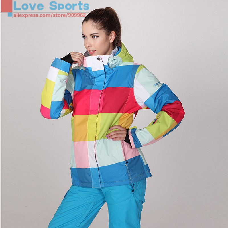 Newest High Quality Ski Jacket Women Different Size High End Waterproof Breathable Snowboarding Jacket Winter Coat(China (Mainland))