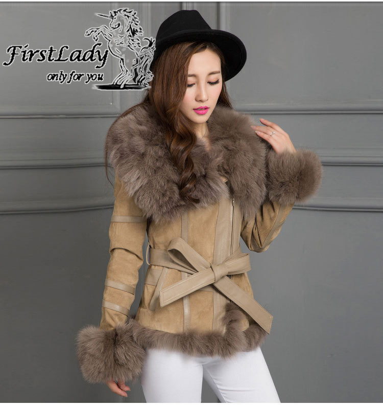 Real fox collars real leather jacket 13