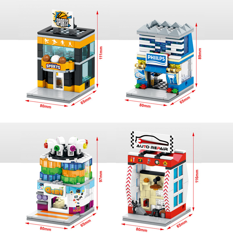City mini street view building block famous brand Digital store Video Game Room sports Auto repair shop bricks toys for kid gift(China (Mainland))