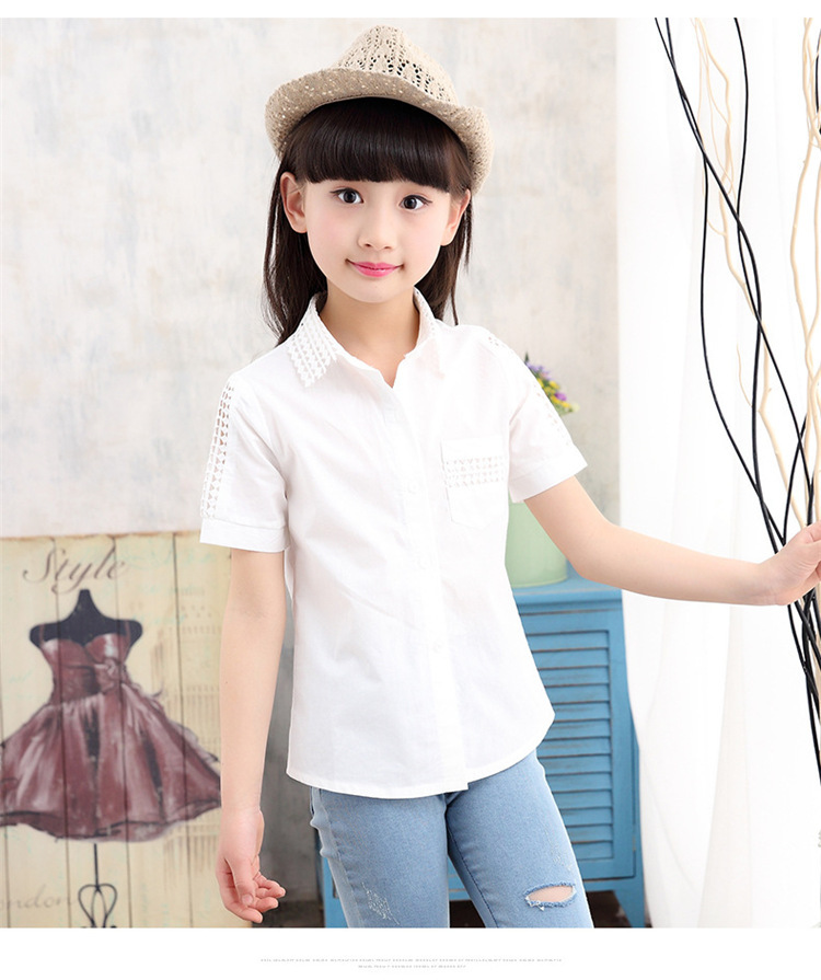 Korean Version Of The New Big Boy Girls Shirt Coat Hollow Summer Clothes
