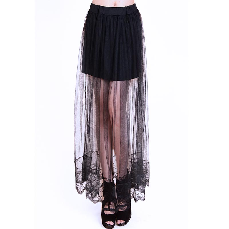Lace Skirts Womens 2016 Stylish Long Skirt Chiffon Sexy Tulle Jupe Longue Transparent Double Layer Summer Maxi Skirt White/Black(China (Mainland))