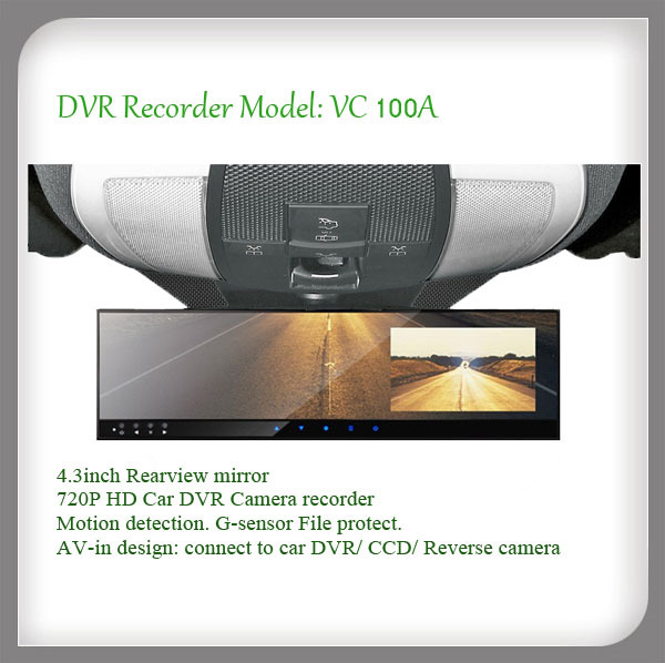 """Car DVR Camera HD 720P Rearview mirror 4.3"""" monitor for gift(China (Mainland))"""