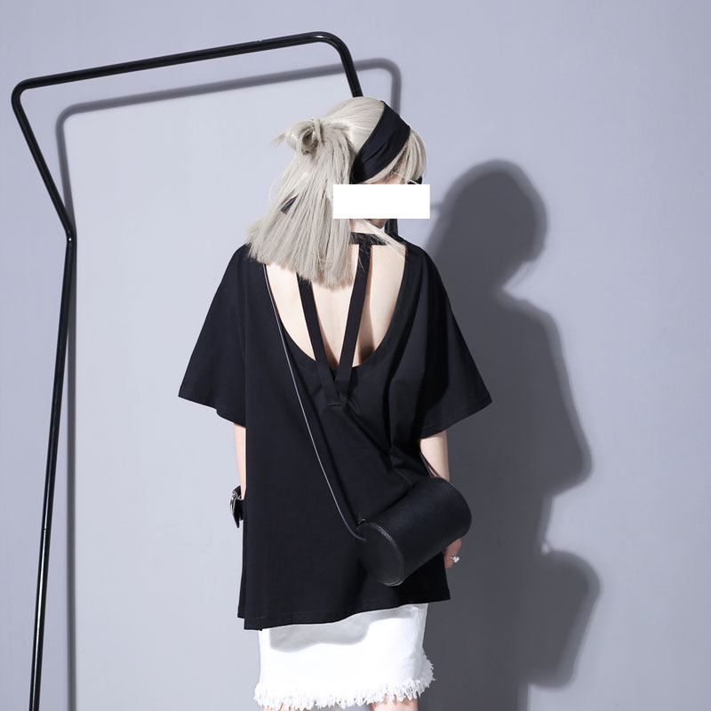Women Summer Hong Kong Flavor Unique Design Backless Spell with Open Fork T-shirt Sexy Concave Shape Clothing(China (Mainland))