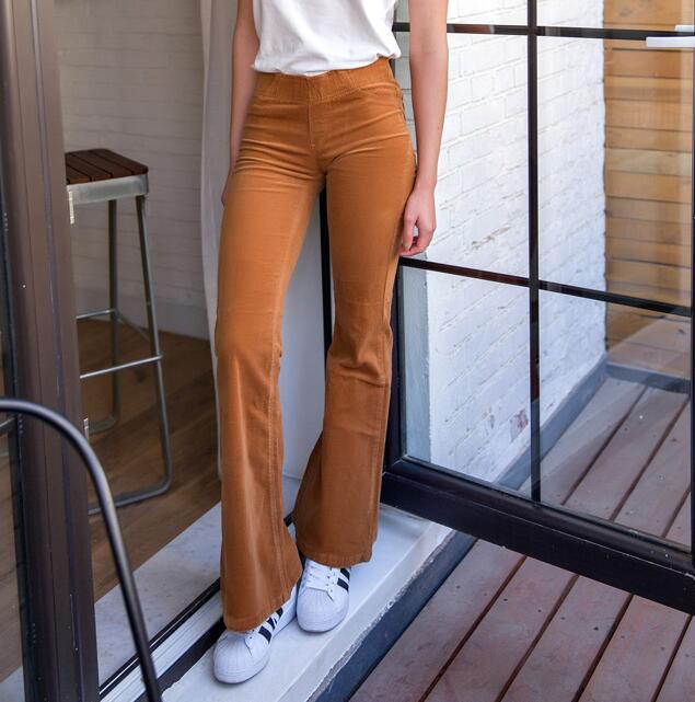 Elina's 2016 vrouwen Flare Corduroy pantalones mujer trousers palazzo pantaloni donna wide leg pants bayan pantolon joggers(China (Mainland))