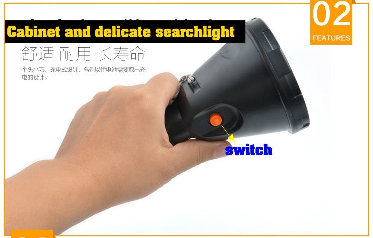 High power Led portable Hand-held hunting flashliht t6 rechargeable  lithium battery searchlight outdoor lighting for fishing