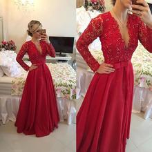 Sexy Red Evening Dress 2016 V-Neck Long Sleeves Zipper Back Floor-Length Party Prom Gowns vestidos de fiesta largos elegantes(China (Mainland))