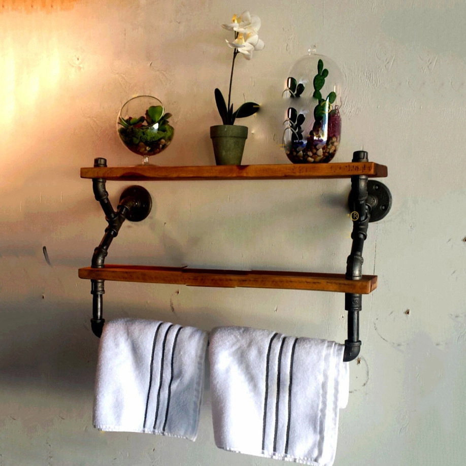 However gifted creative industries Household water towel rack retro wrought iron wall-mounted wood clapboard shelf<br><br>Aliexpress