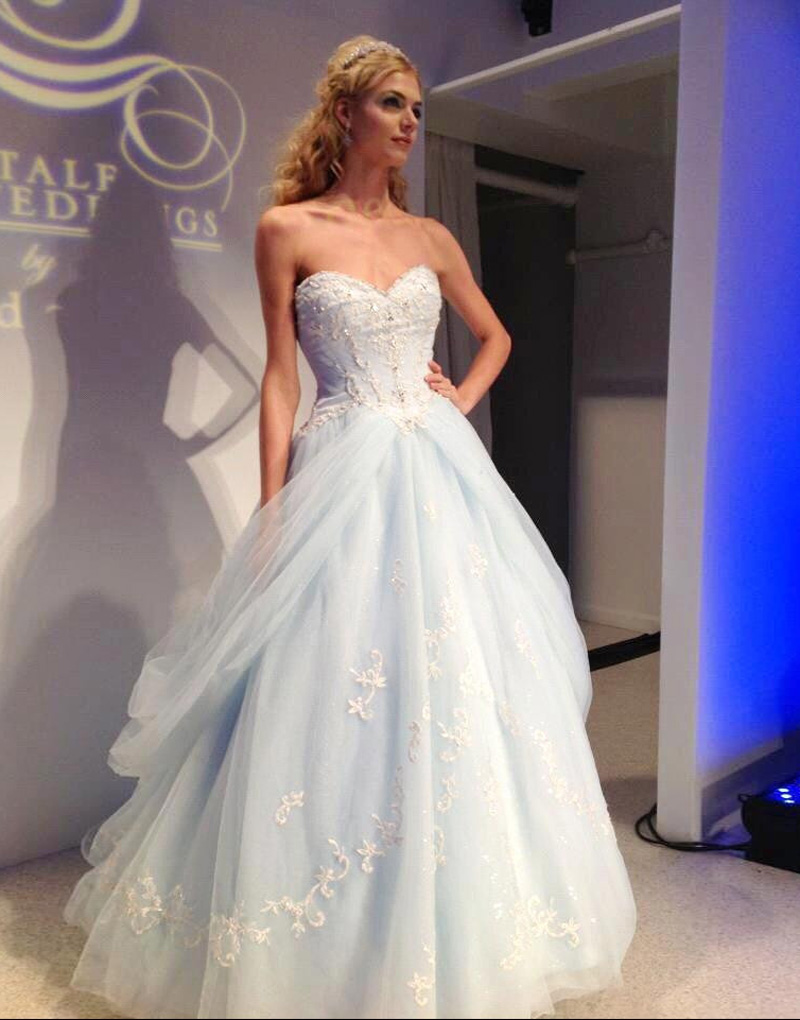 Popular light blue wedding gown buy cheap light blue for Light blue and white wedding dresses