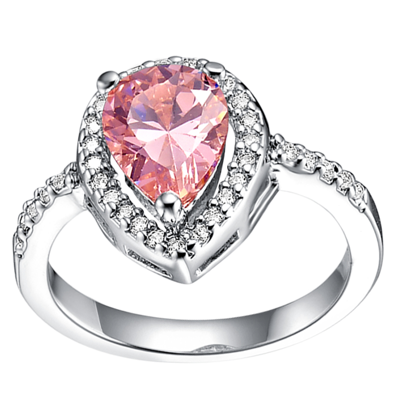 Pink and Blue Wedding Ring with Crystals