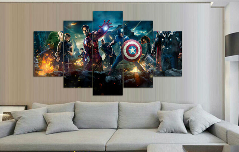 Framed Printed the avengers 5 piece painting wall art children's room decor poster canvas Free shipping