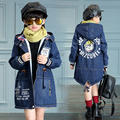 girls outerwear The cowboy girl winter coats Jean jacket kids clothes hooded children parka elsa costume