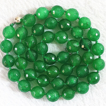 Buy 5 style necklace women natural stone dyed green stone chalcedony faceted round beads chain choler jewelry 18inch B648 for $6.68 in AliExpress store