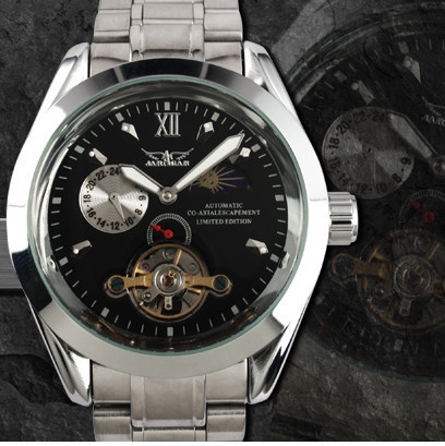 Luxury Men Automatic Mechanical Design Watch Stainless Steel Band Wristwatches Gift Free Shipping(China (Mainland))