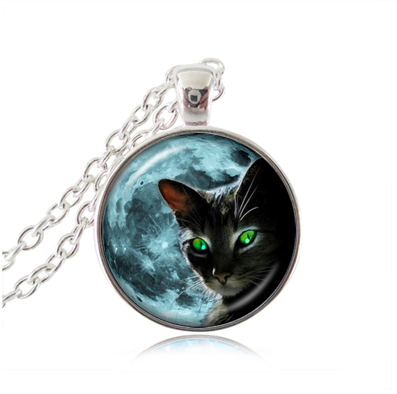 Blue moon necklace black cat jewelry glass dome pendant necklaces animal neckless women gifts cat green eye necklace wholesale(China (Mainland))