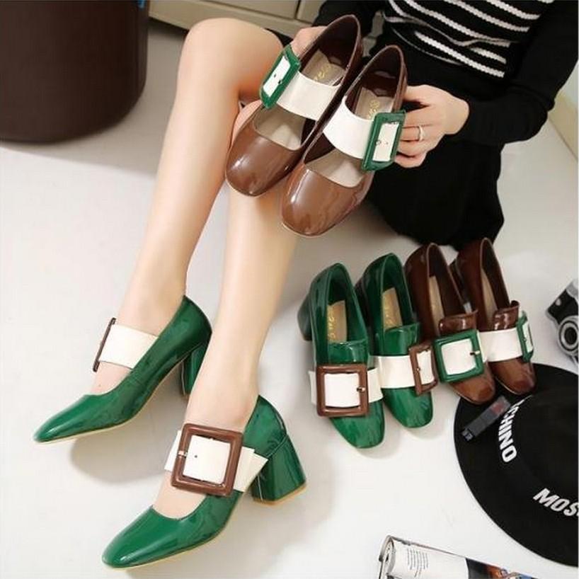 zapatos de mujer moda 2016 women shoes taco alto sapato feminino salto alto luxo European Buckle Female Women Sandals Thick Heel(China (Mainland))