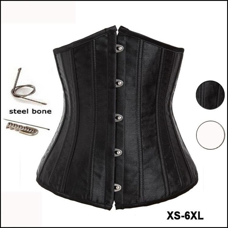 Steel Bone Corset Underbust Plus Size Waist Training Corsets And Bustiers 6XL Black White Steampunk Waist Cincher Corpete CorsetОдежда и ак�е��уары<br><br><br>Aliexpress