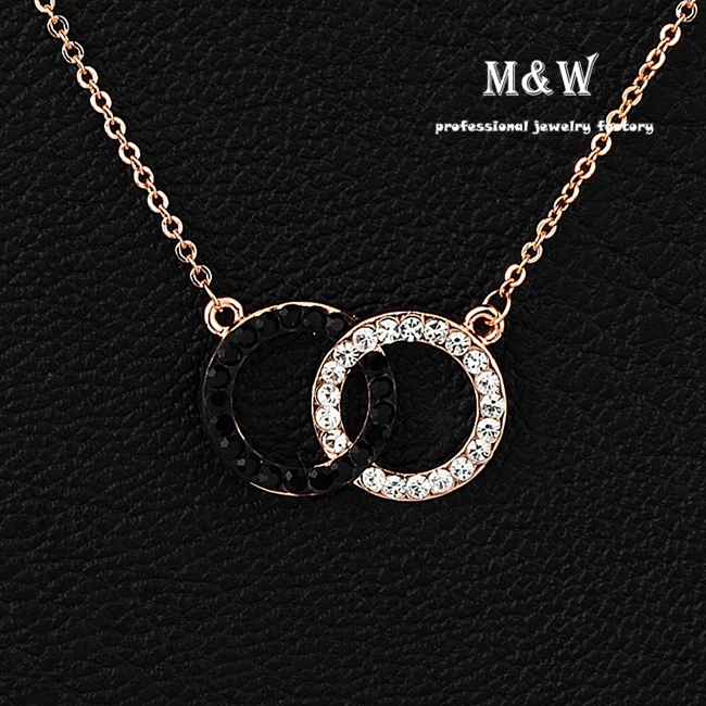 High Quality Crystal Double Cross Circles Chain Necklace for Party Rose Gold Plated Jewelry(China (Mainland))