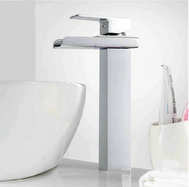 Фотография Free Shipping Tall Version Chrome Finish Brass Material  Single Handle Faucet  Waterfall Bathroom Sink Mixer Tap   zx76