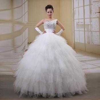 2015 Women Wedding Dresses Oblique one shoulder Train Lace Princess Diamond Feather vintage wedding dress slim vestido de noiva