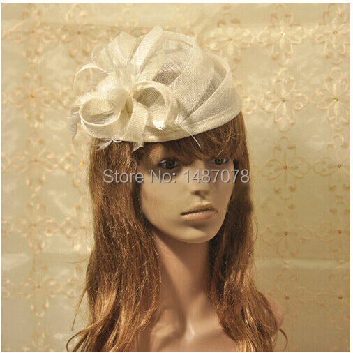 5colors new vintage royal sinamay wedding bridal feather fascinator hats for women wedding hair accessories(China (Mainland))