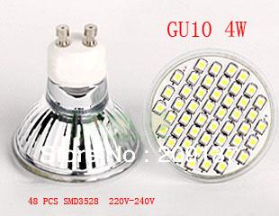 CE/ROHS Certified 4W GU10 48 Leds SMD 3528 Led Bulb Lamp Spotliight Home Lighting 220V~240V Free shipping(China (Mainland))