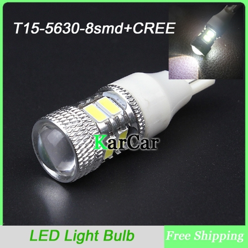 Free Shipping New T15 5630 8SMD + CREE R5 LED Reverse Lights Bulb, Super Bright W16W Car Clearance Light Tail Lights<br><br>Aliexpress