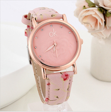 2015 New Fashion ok Women Dress Watches Multicolor flower leather Band Quartz wristwatch Ladies Rhinestone watch Luminous hands