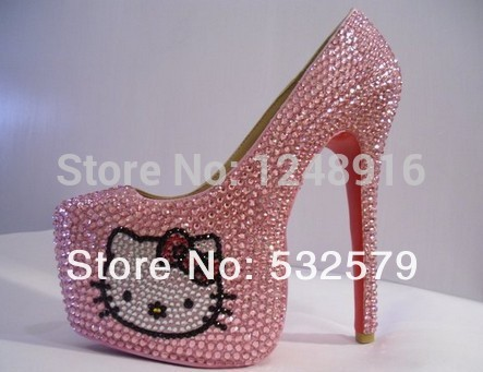 Free Shipping New 2015 Women Platform Pumps High Heels 16cm Hello Kitty Crystal Sequined Pumps Wedding Shoes(China (Mainland))