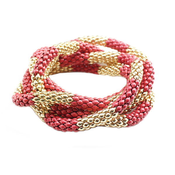 2016 fashion jewelry gold&red long chain bracelet set stretchy for women cheap price B2-292 free shipping(China (Mainland))