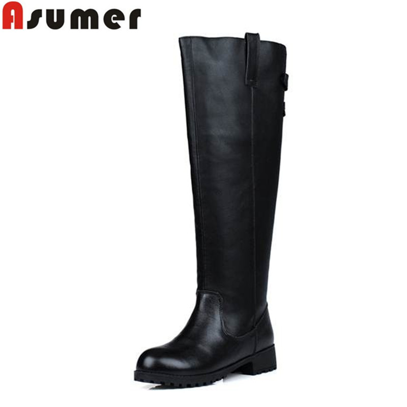 2015 autumn and winter round toe black brown knee high boots genuine leather low heel boots for women buckle soft leather<br><br>Aliexpress