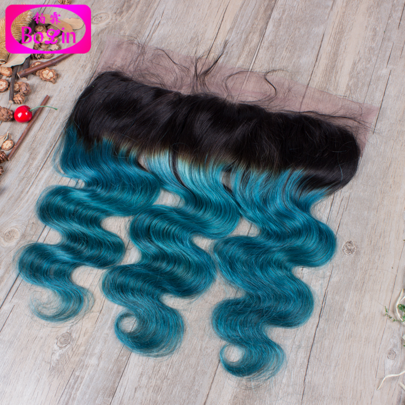 Фотография Unprocessed Virgin Brazilian hair 13*4 Lace Front Closure Cheap body wave Wavy Ombre T1B/Green Lace Front Closure