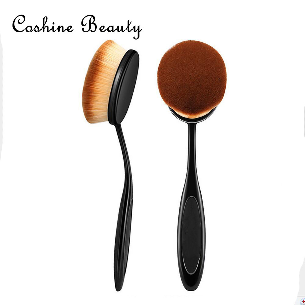 Natural Makeup 2016 New Big Oval Tooth Brush Style Foundation Makeup Air Brush Loose powder Synthetic Hair Brush Big One<br><br>Aliexpress