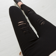 2016 Cotton High Elastic Imitate Jeans Woman Knee Skinny Pencil Pants Slim Ripped  Jeans For Women Black Ripped Jeans XXXL JN079(China (Mainland))