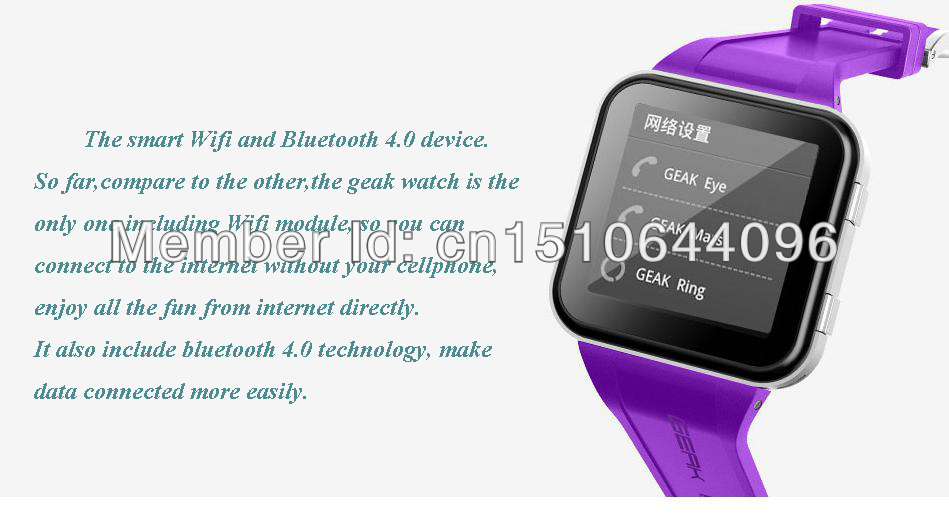 Geak Watch Youth purple 1GHz CPU 512MB RAM 4GB ROM 1.55' IPS Screen Android 4.1 WIFI Bluetooth 4.0 Real Smart Watch(China (Mainland))